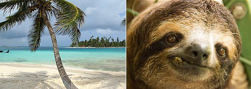 Panama and a sloth in Costa Rica