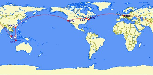 Singapore Airlines around the world trip