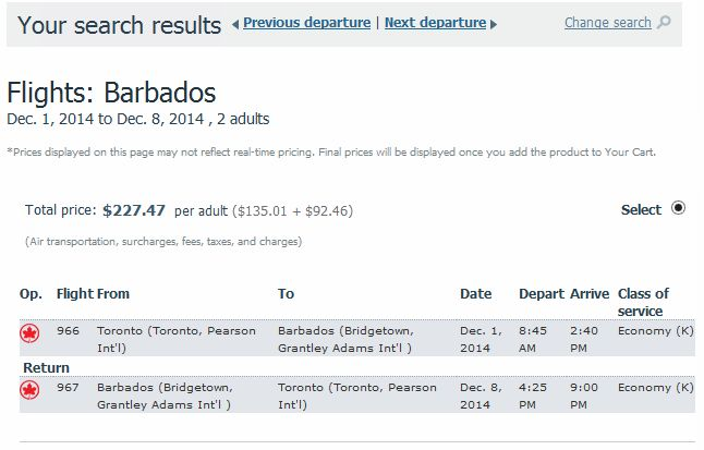 Toronto To Bridgetown Barbados 227 Roundtrip Including